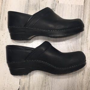 DANSKO Black Leather Professional Clogs Shoes